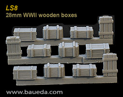 LS8 - 28mm WWII wooden boxes (12 pcs.)