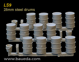 LS9 - 28mm 200 l steel drums (12 drums, 3 jerrycans and 3 buckets)