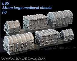 LS5 - 28mm large medieval chests and strongbox (9 pcs.)